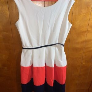 Tiana B. Belted Color Block Dress